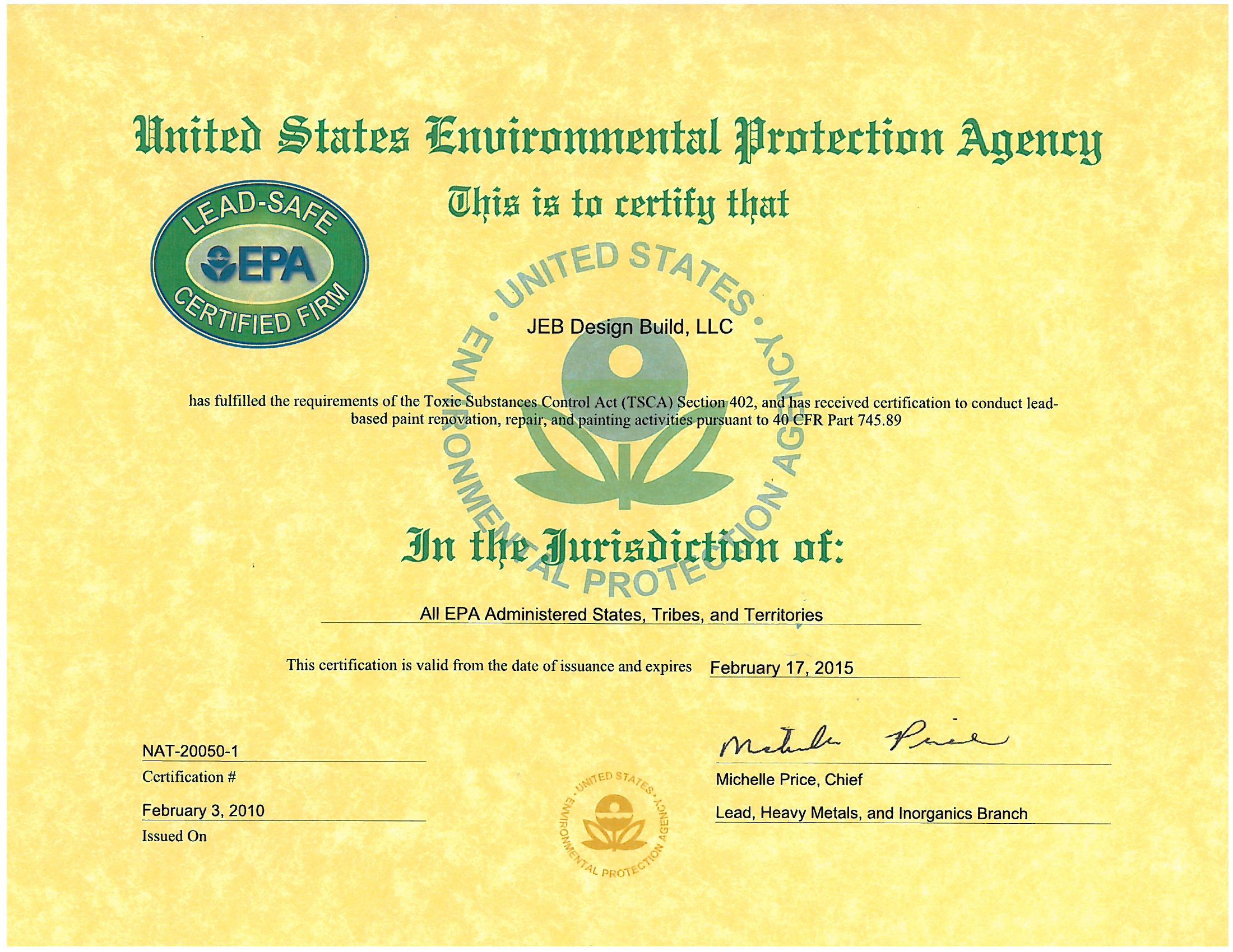 EPA Lead Paint Certification | Jeb Design/Build Blog